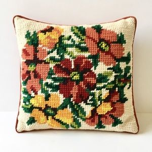 Vintage Floral Needlepoint Decorative Throw Pillow